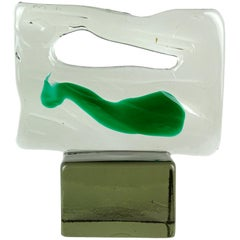 Luciano Gaspari Salviati Murano Smoky Green Italian Art Glass Abstract Sculpture