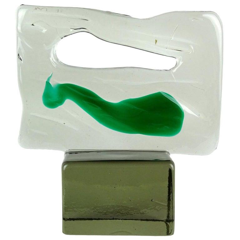 Luciano Gaspari Salviati Murano Smoky Green Italian Art Glass Abstract Sculpture For Sale