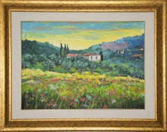 Flowers Among the Olive Trees - Original Oil Painting by Luciano Sacco -  1980s