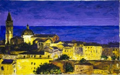 Night in Alghero - Original Oil on Canvas by Luciano Sacco - 1980s