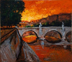 Sunset over the Tiber  - Original Oil painting by Luciano Sacco -  1980s