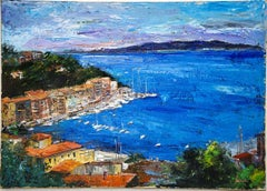 View of Porto Santo Stefano - Oil on Canvas by Luciano Sacco - 1980s