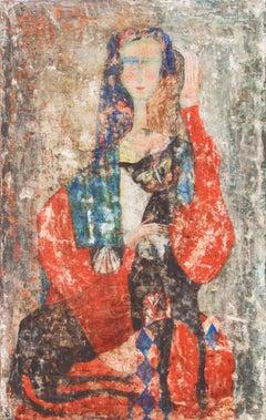 Figure with a Cat  (Italian, Modernism, Cat, Fresco, Framed, Avant-garde)