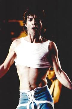 Mick Jagger Performing in Half Shirt Vintage Original Photograph