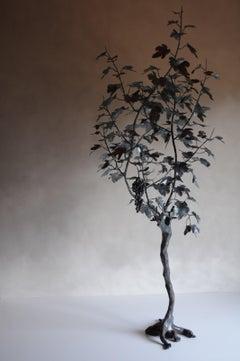 Realistic outdoor sculpture, black grape tree contemporary made in Italy, Zanoni
