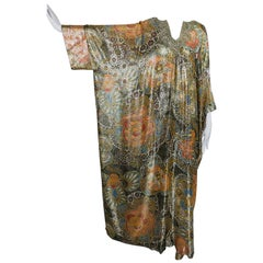 Lucie Ann Metallic Gold Brocade Full Length Caftan 1970s