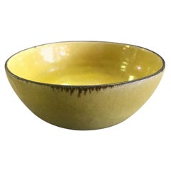 Lucie Rie & Hans Coper Signed Stamped Yellow Glazed Stoneware Bowl, circa 1950