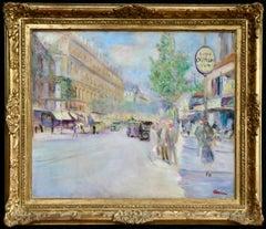 Boulevard Saint-Michel - Paris - Post Impressionist Oil, Cityscape by L Adrion