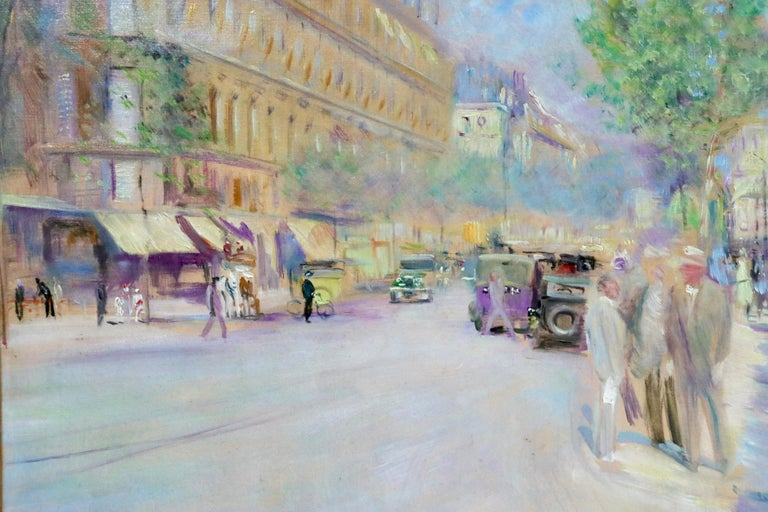 A beautifully coloured oil on canvas circa 1930 by French post-impressionist painter Lucien Adrion. The painting depicts a busy Parisian street scene.   Signature: Signed lower right and signed and titled verso.   Dimensions: Framed:
