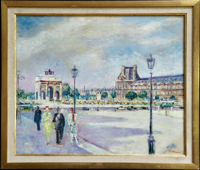 Carrousel du Louvre - Post Impressionist Oil, Figures in Cityscape by L Adrion - Painting by Lucien Adrion