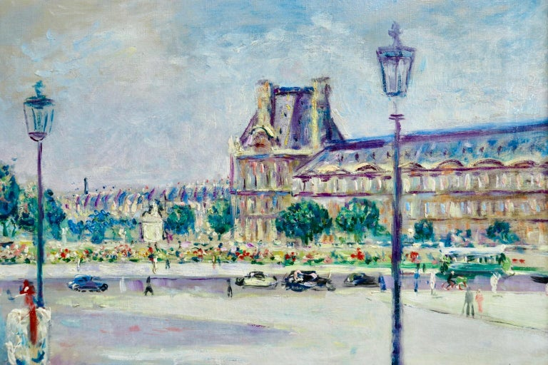 Carrousel du Louvre - Post Impressionist Oil, Figures in Cityscape by L Adrion - Post-Impressionist Painting by Lucien Adrion