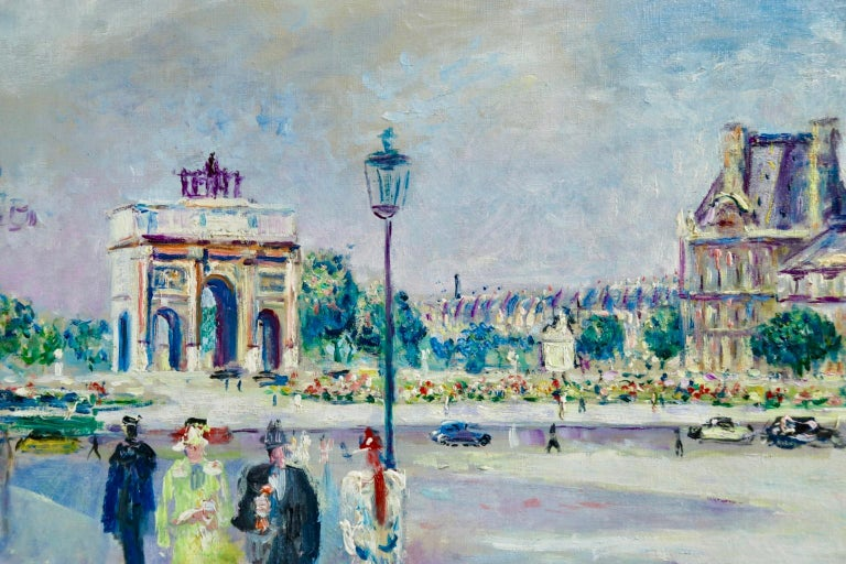 Carrousel du Louvre - Post Impressionist Oil, Figures in Cityscape by L Adrion - Gray Figurative Painting by Lucien Adrion