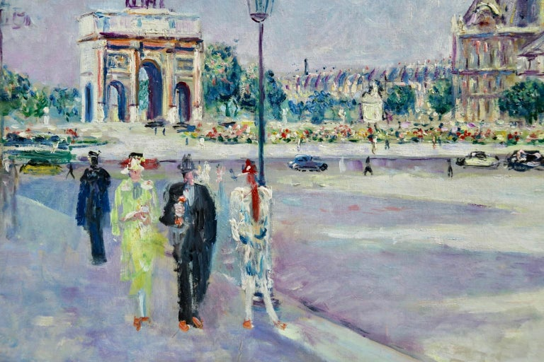 A beautifully coloured Post-Impressionist oil on canvas circa 1930 by French painter Lucien Adrion. The painting depicts elegant figures in a Parisian street scene with the Jardin du Carrousel in the background. Signed lower right and titled verso.