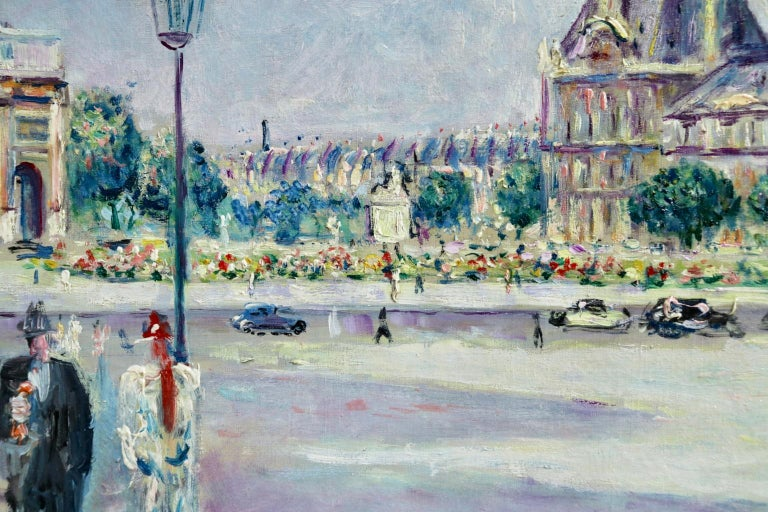 Carrousel du Louvre - Post Impressionist Oil, Figures in Cityscape by L Adrion For Sale 1