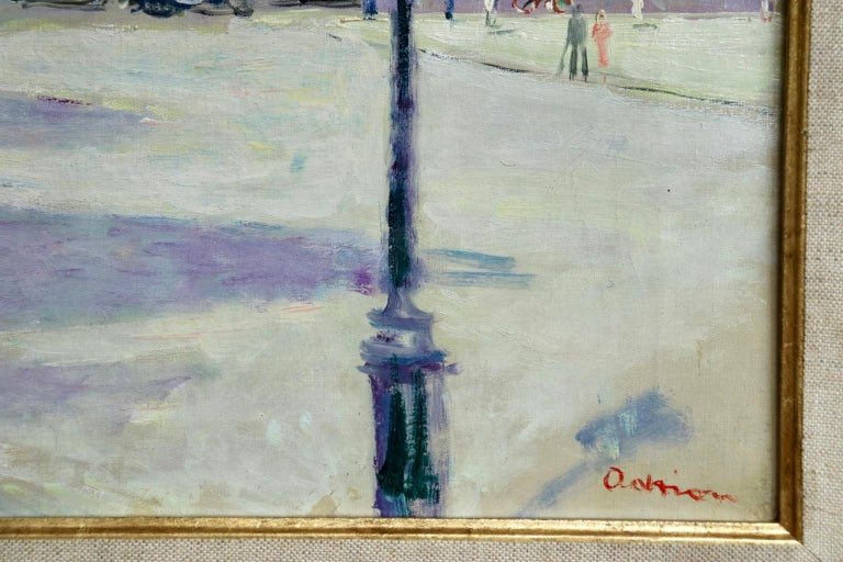 Carrousel du Louvre - Post Impressionist Oil, Figures in Cityscape by L Adrion For Sale 2