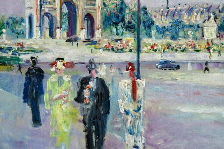 Carrousel du Louvre - Post Impressionist Oil, Figures in Cityscape by L Adrion For Sale 3