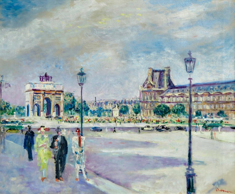 Lucien Adrion Figurative Painting - Carrousel du Louvre - Post Impressionist Oil, Figures in Cityscape by L Adrion