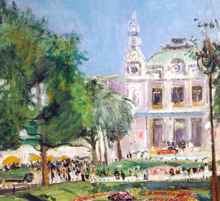 'Monte Carlo' by Lucien Adrion is a Post-Impressionist French Cityscape painting. It is signed, Inscribed and dated 1929 verso.  Lucien Adrion was born in Strasbourg, France in 1889 and died in Cologne 1953. Post-Impressionist Lucien Adrion is