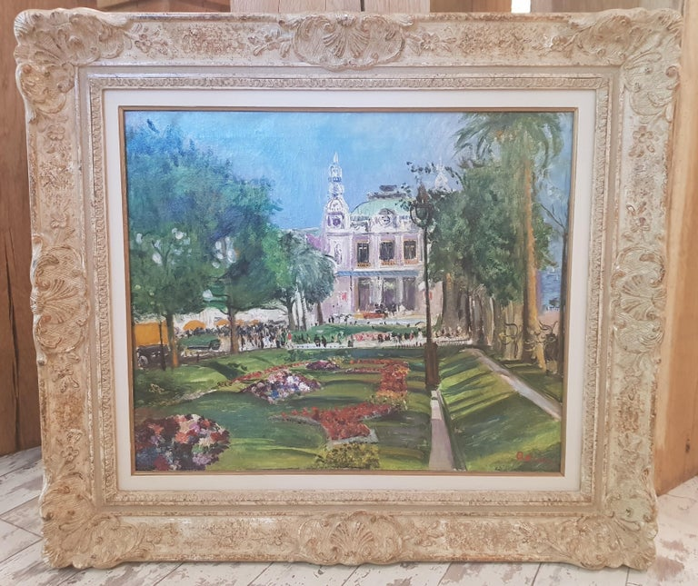 Impressionist French Cityscape painting with trees & flowers 'Monte Carlo'  For Sale 2