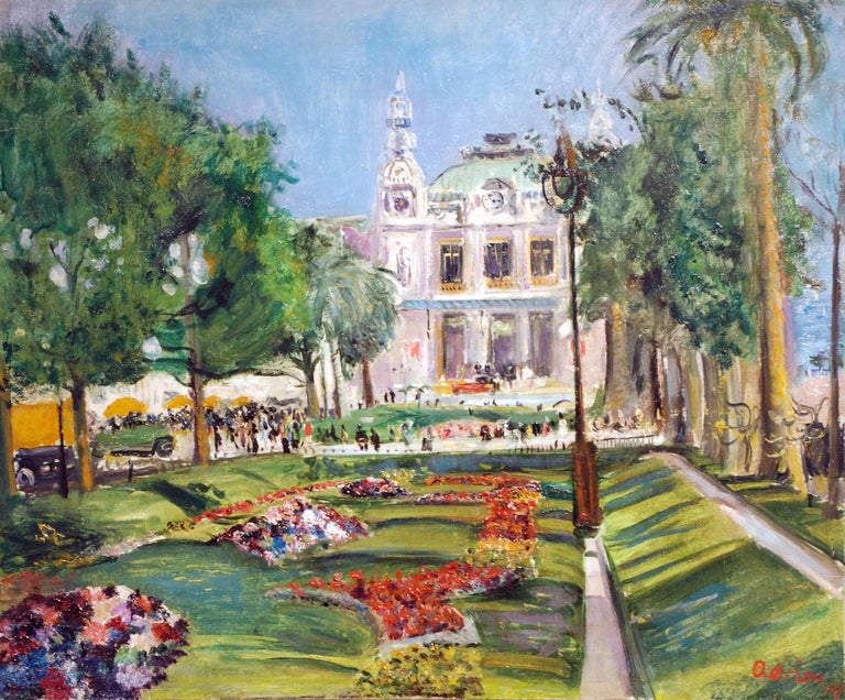 Impressionist French Cityscape painting with trees & flowers 'Monte Carlo'  - Painting by Lucien Adrion
