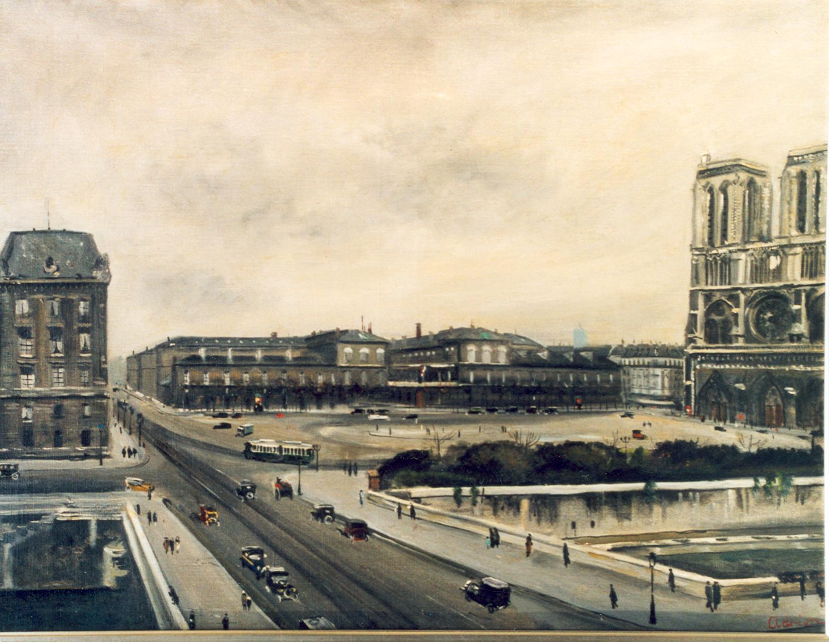 """Lucien Adrion Oil on Canvas """"Notre Dame de Paris"""""""