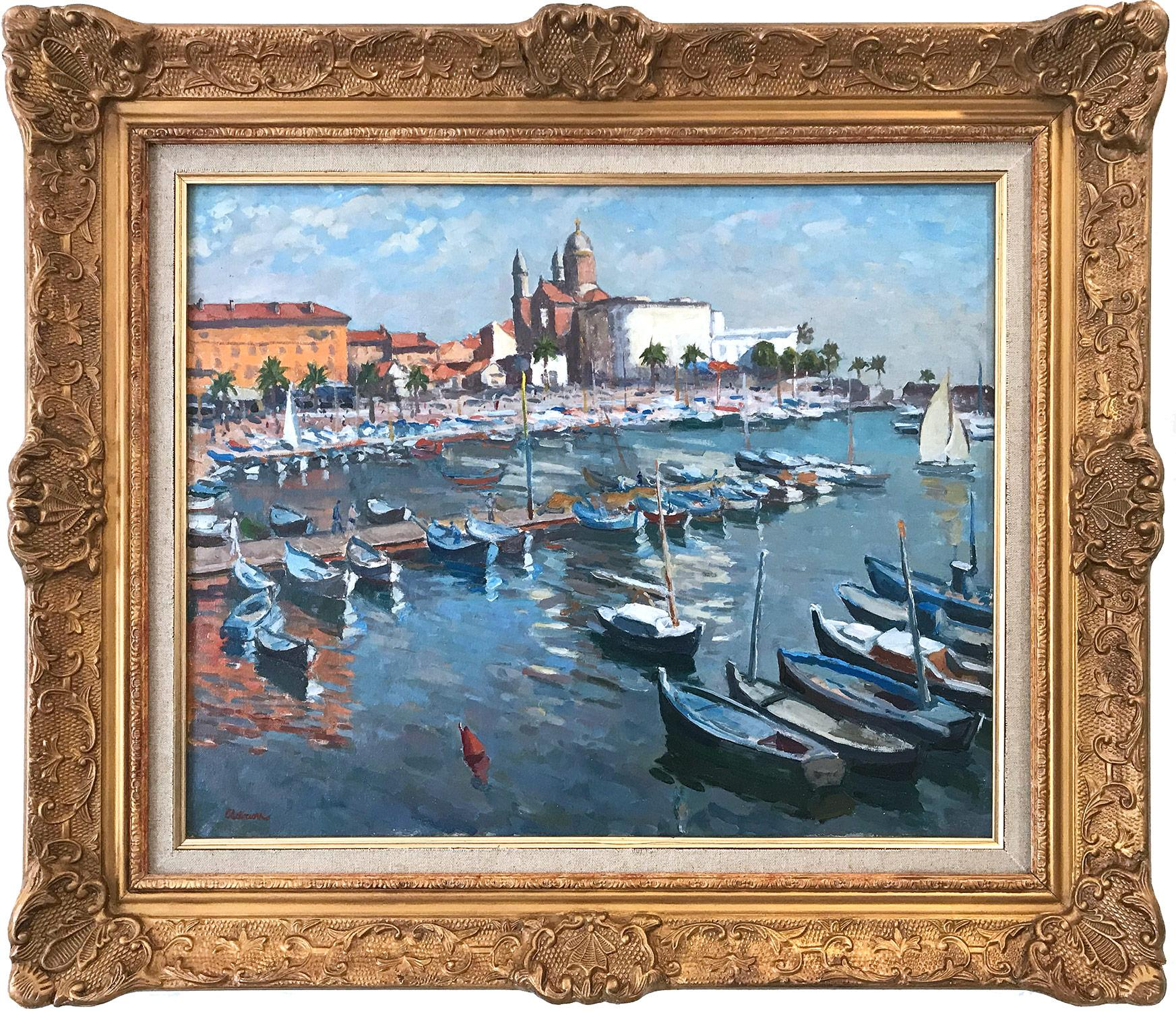 """""""Marina in the French Riviera"""" Post-Impressionist Sea Shore Boats Oil Painting"""