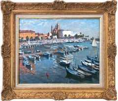 """Marina in the French Riviera"" Post-Impressionist Sea Shore Boats Oil Painting"