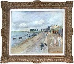 """""""Promenade en bord de mer à Saint-Valéry"""" Impressionist Sea Scape Oil Painting"""