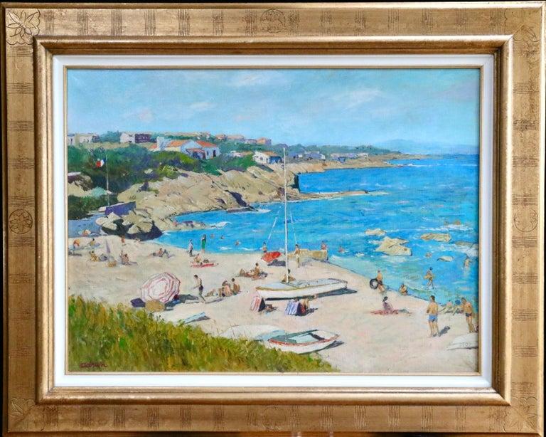 Sur la Plage - Post Impressionist Oil, Figures on Beach Seascape - Lucien Adrion - Post-Impressionist Painting by Lucien Adrion
