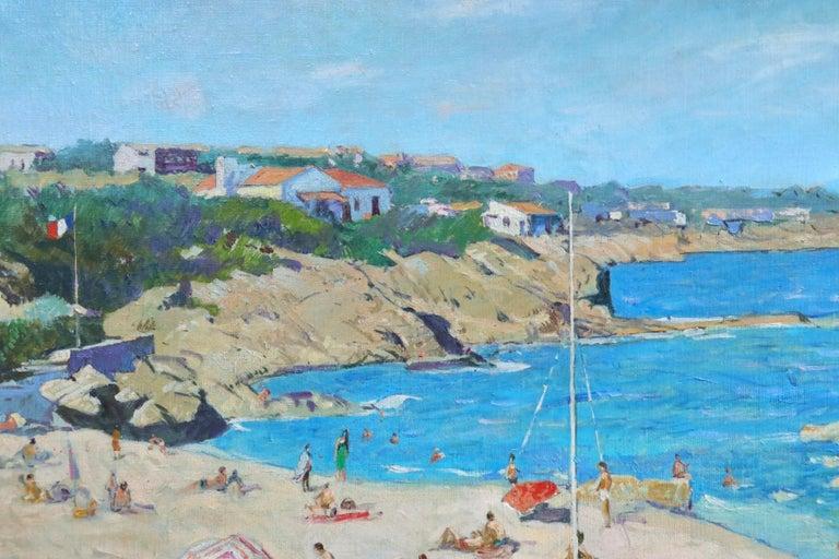 Sur la Plage - Post Impressionist Oil, Figures on Beach Seascape - Lucien Adrion - Blue Figurative Painting by Lucien Adrion