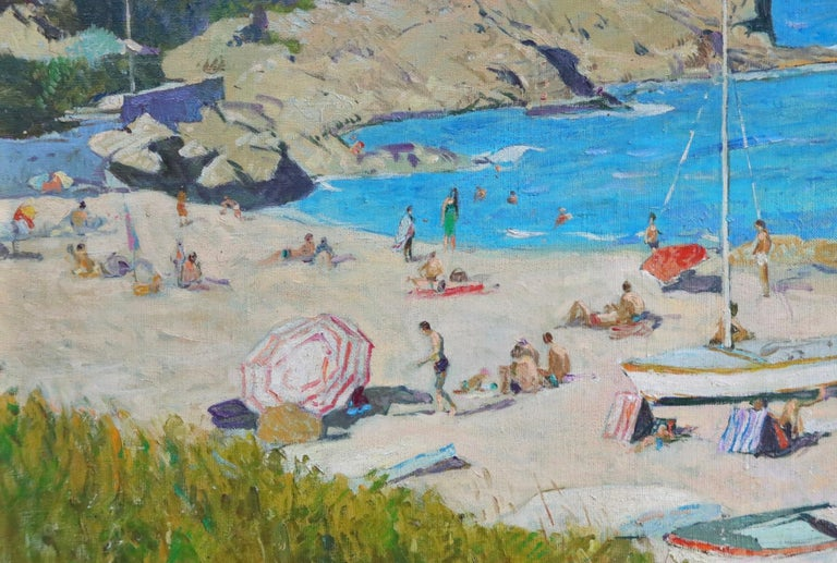 A wonderful oil on canvas circa 1940 by French post impressionist painter Lucien Adrion. The painting shows many people enjoying a sunny day at the beach, blue skies in the distance. Signed lower left.   Dimensions: Framed: 33