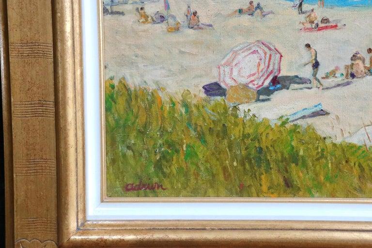 Sur la Plage - Post Impressionist Oil, Figures on Beach Seascape - Lucien Adrion For Sale 1