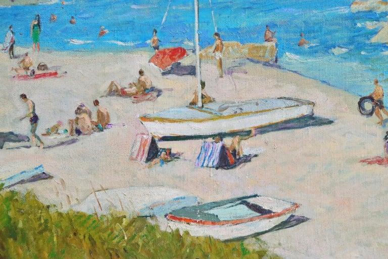 Sur la Plage - Post Impressionist Oil, Figures on Beach Seascape - Lucien Adrion For Sale 2