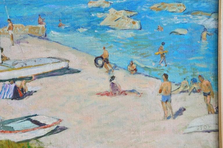 Sur la Plage - Post Impressionist Oil, Figures on Beach Seascape - Lucien Adrion For Sale 3