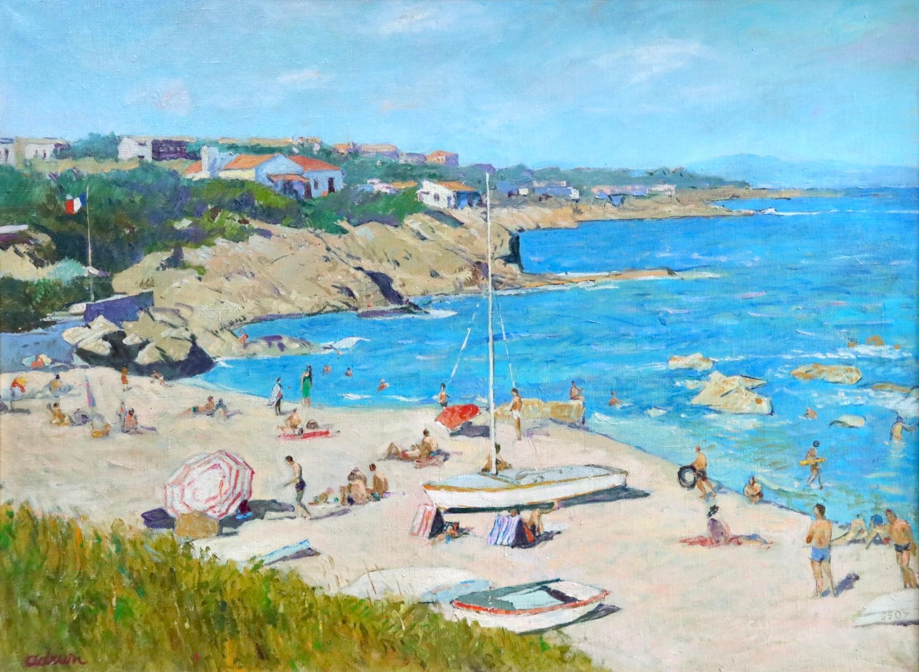 Sur la Plage - Post Impressionist Oil, Figures on Beach Seascape - Lucien Adrion