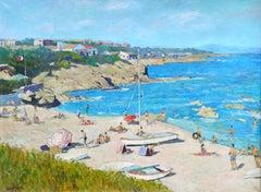 Sur la Plage - 20th Century Oil, Figures on Beach Landscape by Lucien Adrion