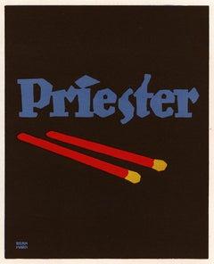 Prietster Matchstick, Graphic Object poster advertisement by Lucien Bernhard