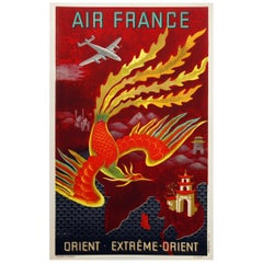 Air France Poster for the Orient Extreme-Orient by Lucien Bouch, 1947