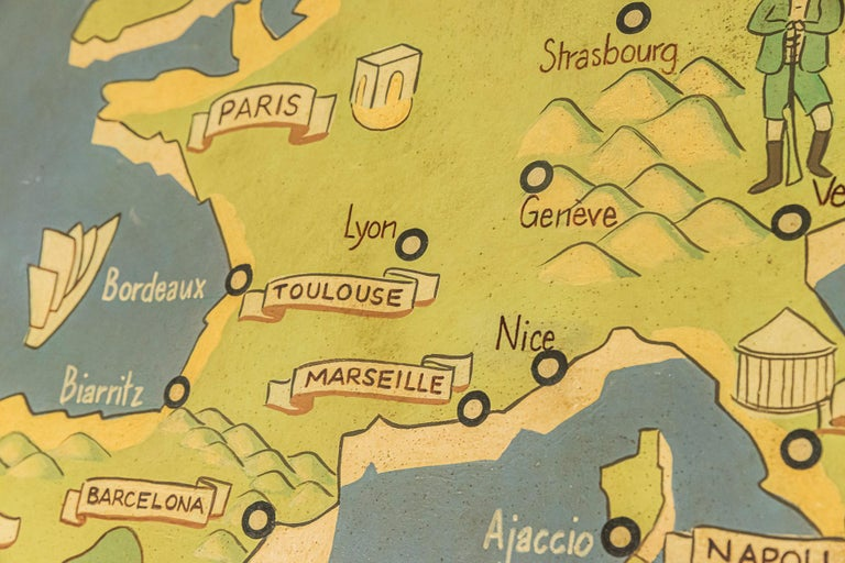 French Lucien Boucher, Important Air France Planisphere Painting, France, circa 1950 For Sale