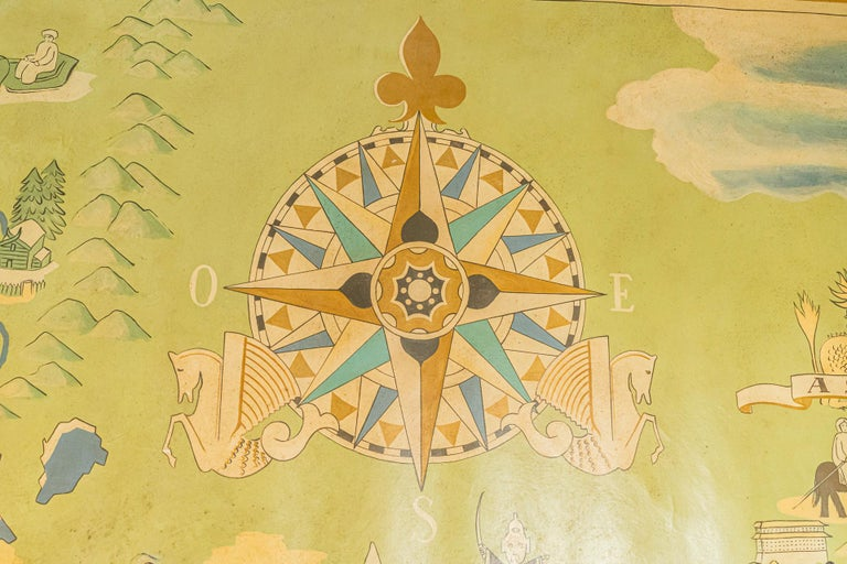 Mid-20th Century Lucien Boucher, Important Air France Planisphere Painting, France, circa 1950 For Sale