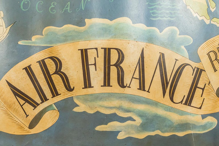 Lucien Boucher, Important Air France Planisphere Painting, France, circa 1950 For Sale 1