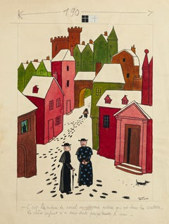 The Village - Original Mixed Media by Lucien Boucher - Mid 20th Century