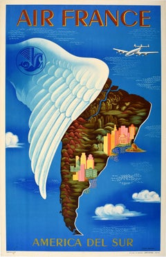 Original Vintage Travel Poster By Boucher For Air France South America Del Sur