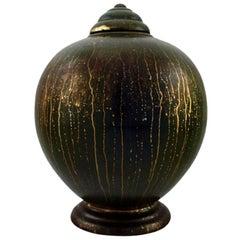 Lucien Brisdoux, France, Art Deco Pottery Lidded Vase, Unique Work
