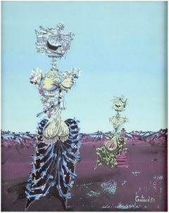 Lucien Coutaud 1950 Original French Surrealist Gouache Painting Figures