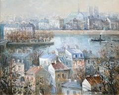 """Isle St. Louis Paris"", Lucien Delarue, Impressionist, Paris, 18x22, Oil"