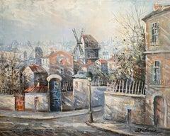 """""""Le Moulin de la Galette"""", Lucien Delarue, Impressionist, Paris, 18x22, Oil"""