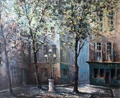 Lucien Delarue (French 1925 - 2011); Place Furstemberg; oil on canvas