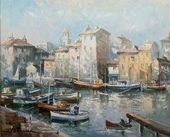 """""""St. Topez"""", Lucien Delarue, Impressionist, Paris, 18x21, Original Oil"""