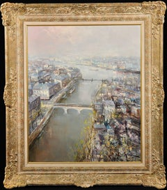 The River Seine.Paris Cityscape Landscape.Original Oil Painting.Mid-20th Century